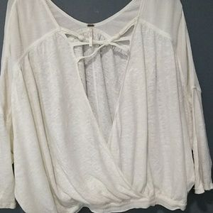 Free People unique off white oversized top size S
